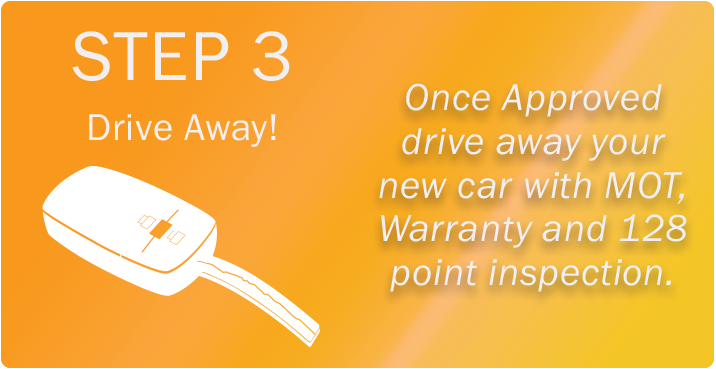 Step 3, drive away! Once Approved, drive away your new car with MOT, Warranty and 128 point inspection.